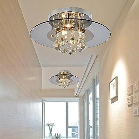 Create For Life® 3 luces de araña en forma redonda con colgantes de cristal, lámparas modernas del montaje del rubor, luz de techo de cristal para ...