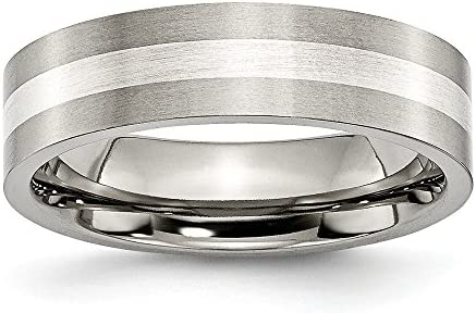 Sonia Jewels Titanium Sterling Silver Inlay 6mm Brushed Wedding Band