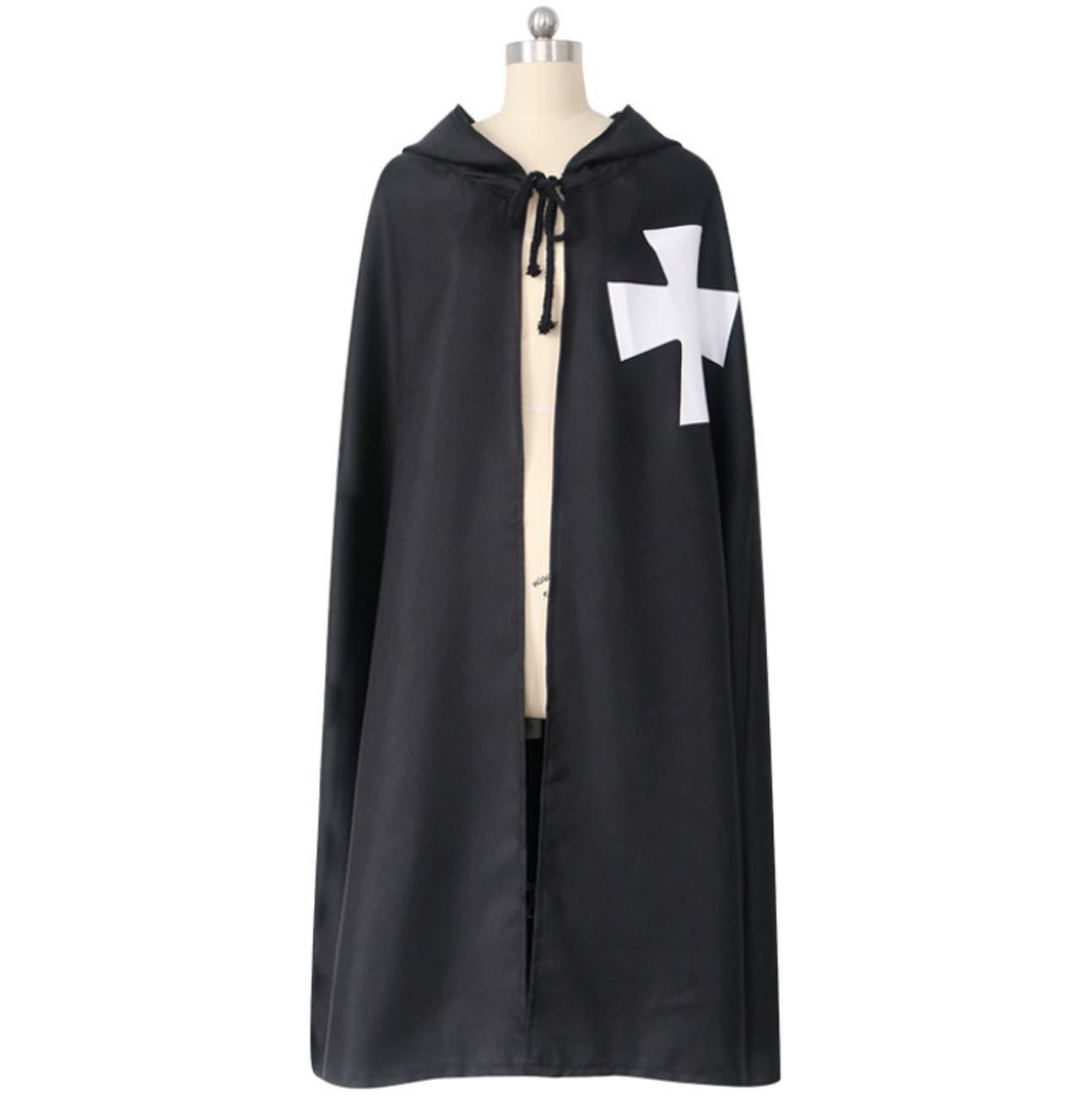 Huaishu Capa Negra con Capucha Adultos Caballeros Templarios ...