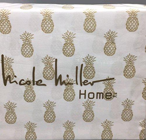 Nicole Miller Queen Pineapple Sheet Set Metallic Gold on White Tropical Beach Life Cotton 4 pc Set Bedding