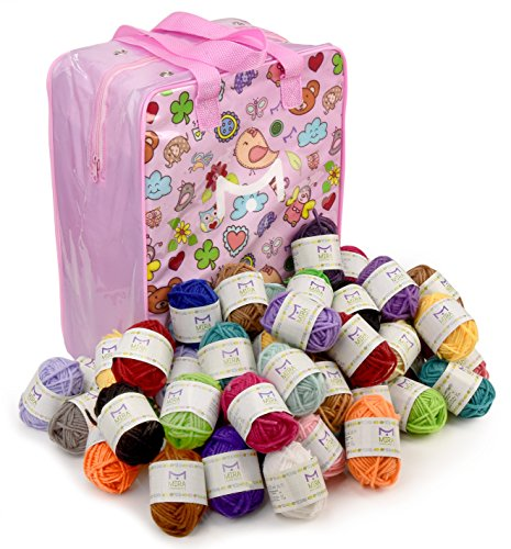 Mira Handcrafts 60 Bonbon Yarn Skeins for Knitting and Crochet – Total of 1312 Yards (1200 m) Acrylic Yarn in Assorted Colors – Stylish Yarn Bag Included – Starter (Knitting Patterns Alpaca Yarn)