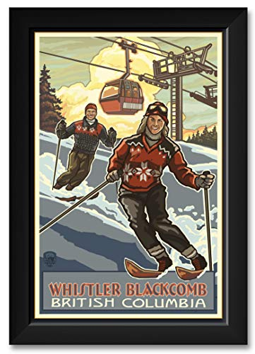 (Downhill Skier Pair Whistler Blackcomb British Columbia Canada Framed Art Print by Paul A. Lanquist. Print Size: 12