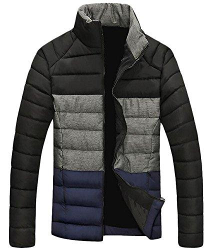 Warm EKU Black US Coat Up Contrast Jacket Color Men's Down L Zip Winter vrPYv