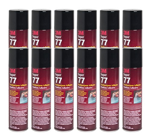 - 3M SUPER 77 Spray Glue 7.3 oz Adhesive for Foil Plastic Paper Foam Metal (Pack of 12)