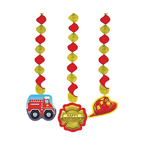 Creative Converting Firefighter 3 Count Dangling Cutouts Hanging Party Decoration (Value 2-Pack)