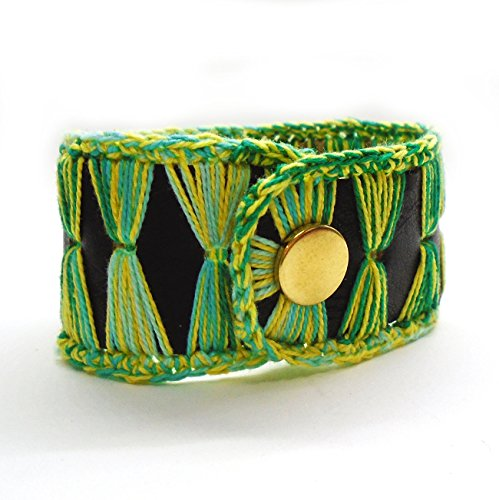 Leather Trim Candy (Black Leather Cuff Bracelet With Green Lace Trim)