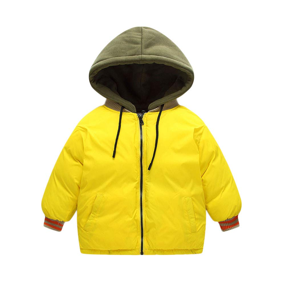 Little Kids Winter Warm Coat,Jchen(TM) Clearance! Baby Kids Little Boy Girl Patchwork Jacket Coat Hooded Zipper Keep Warm Children Outwear for 2-7 Years Old (Age: 2-3 Y, Yellow)