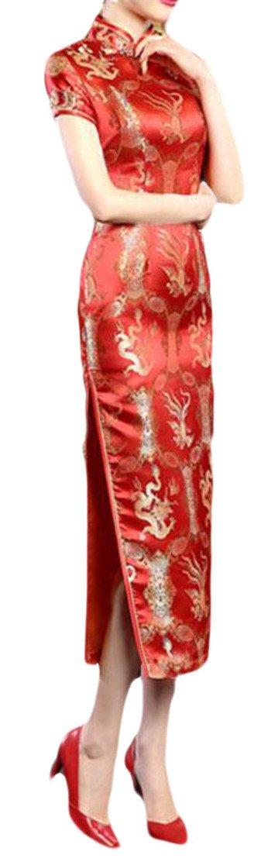 Etecredpow Womens Slit Bodycon Slim Ethnic Style Printed Qipao Dress Red S