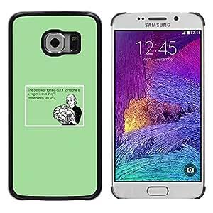 KOKO CASE / Samsung Galaxy S6 EDGE SM-G925 / comida vegana cita divertida relación sana / Delgado Negro Plástico caso cubierta Shell Armor Funda Case Cover