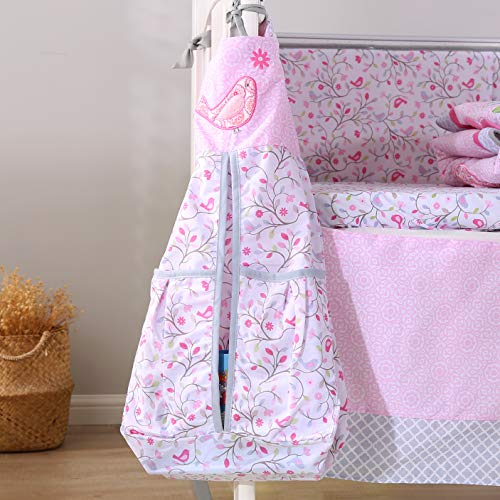 Wowelife Cotton Bedding Set Baby Girl Upgraded Flower Birds 9 Piece Breathable Baby Bed Sets for Cribs Girl with Diaper Stacker(Pink-9 Piece)