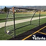 Vallerta Premier 12 X 6 Ft. AYSO Youth Regulation Size Soccer Goal w/Weatherproof 4mm Net. 50MM Diameter Blk/Gld Powder Coated/Corrosion Resistant Frame. 12x6 Foot Practice Aid(1Net)ONE YEAR WARRANTY