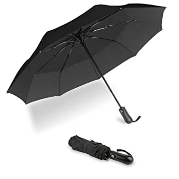 b1191a79bc04 UROPHYLLA Windproof Travel Umbrella, Compact Folding Umbrella Automatic  Open Close, WIND-DEFYING 9-RIB Lightweight Small Umbrella for Backpack,  Black
