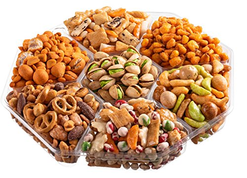 The Nut Haven Gourmet Party Mix Nut Gift Basket/Box ~ variety of freshly roasted 7 section nut tray ~ Great for: Corporate, Holiday, Birthday, Get well, Thank you, Men & Women, snack ~ Prime by Nut Haven (Image #3)