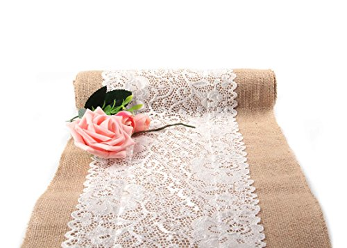 Junxia Burlap Table Runner with White Lace for Wedding Festival Event Hessian Table Decoration 4packs(Runner 2) -