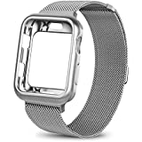 WEFU for Apple Watch Band with Case 38mm 42mm, Stainless Steel Mesh Milanese Loop with Adjustable Magnetic Closure Replacement Wristband iWatch Band for Apple Watch Series 3 2 1 (Silver, 42mm)