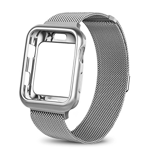 WEFU for Apple Watch Band with Case 38mm 42mm, Stainless Steel Mesh Milanese Loop with Adjustable Magnetic Closure Replacement Wristband iWatch Band for Apple Watch Series 3 2 1(38mm Silver) by WEFU