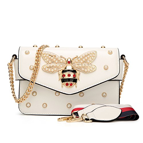 Sac White À Xiaoqing Nouveau GUANGMING77 Simple Rivet Pearl Bee Messenger Épaule Bandoulière Paquet 1TxC4wq4