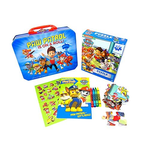 Paw Patrol Lunch Tin w/ Puzzles, Stickers, Coloring Book & Crayons