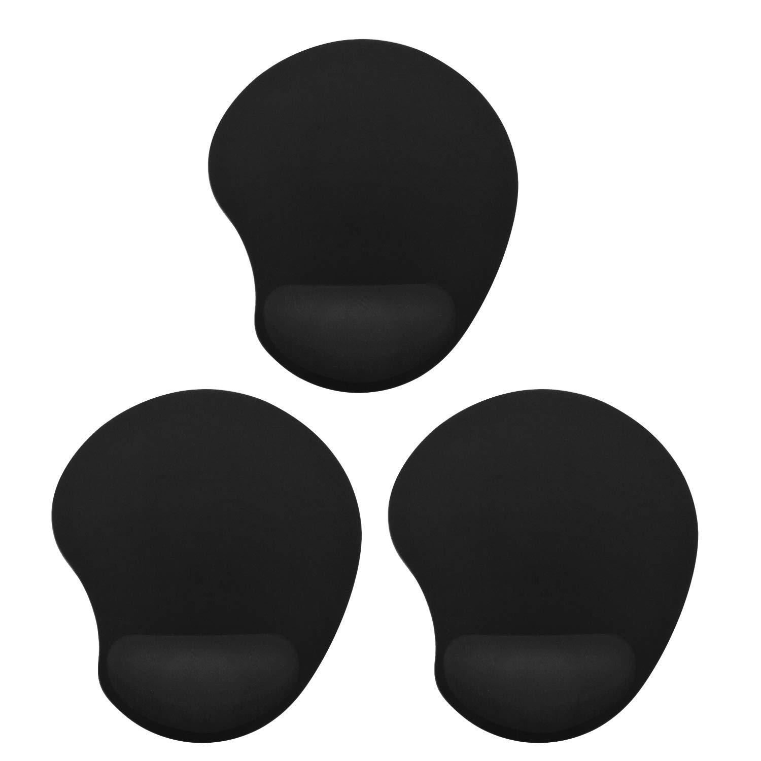 MROCO Mouse Pad with Wrist Support, Mousepad with Wrist Rest Ergonomic Memory Foam Mouse Pad Wrist Rest Support Wrist Cushion Support Lightweight Rest Mousepad for Home Office Travel 3 Pack Black