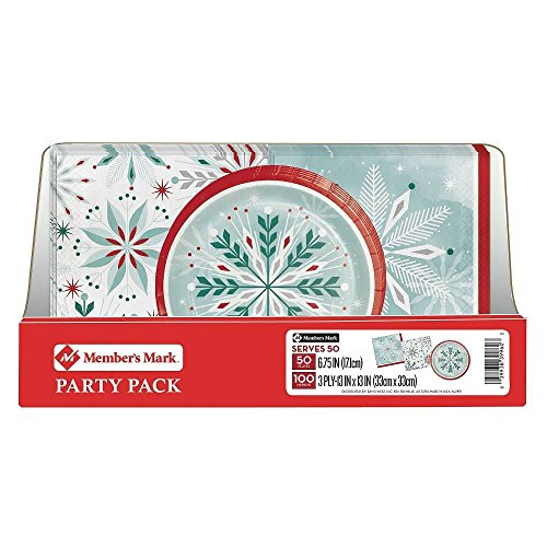 Member's Mark Wonderland Frost Snowflake Party Pack. Disposable Performa Paper Christmas Plates with Thick and Highly Absorbent 3 Ply Napkin. Perfect for Holiday Parties and Events.]()