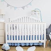 TILLYOU Crib Skirt Dust Ruffle, 100% Natural Cotton, Nursery Crib Bedding Skirt for Baby Boys Or Girls, 14  Drop/Peach Pink (Light Orange Pink)