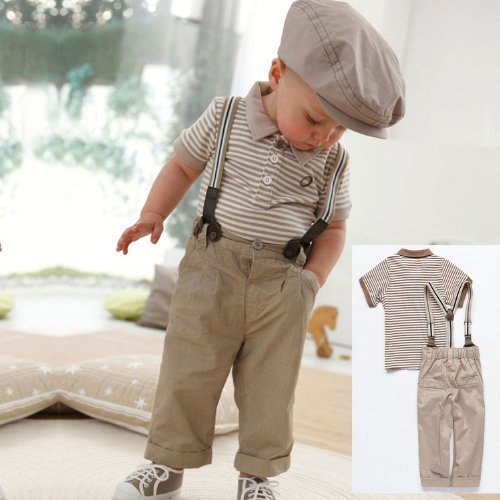 Boy Baby Striped Polo T-shirt Top Bib + Pants Set Overalls Outfit (120 (4-5 Years)) by T.G.I. Store