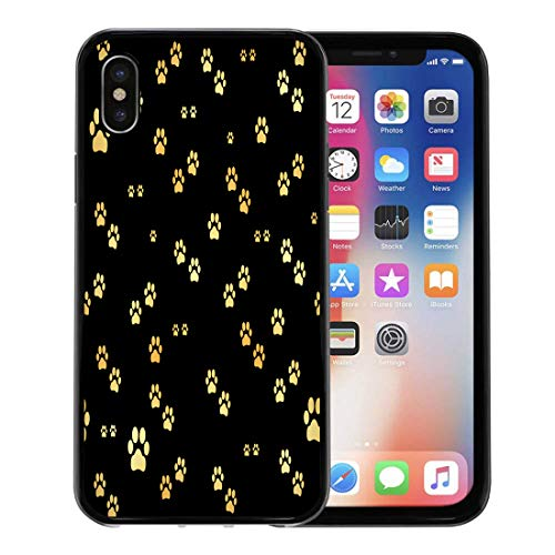 Semtomn Phone Case for Apple iPhone Xs case,Yellow Foot Dog Gold Paw of Animal Footprints Pawprint Cat Tiger Stamp for iPhone X Case,Rubber Border Protective Case,Black