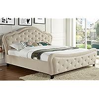 Best Quality Furniture B45EK Beige Bed Modern Woven Only, Eastern King