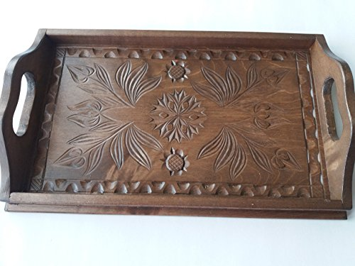New small brown handcarved tray,salver,decorative plate,home decor,serving dish,unique tray,gift for woman,gift for girls,rustic,wooden tray