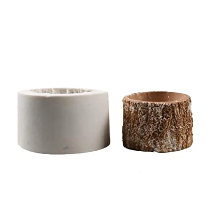 Molde redondo de silicona con forma de corteza para macetas, plantas suculentas, molde para