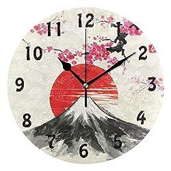AUUXVA SEULIFE Wall Clock Japan Japanese Sakura Tree Landscape, Silent Non Ticking Clock for Kitchen Living Room Bedroom Home Artwork Gift