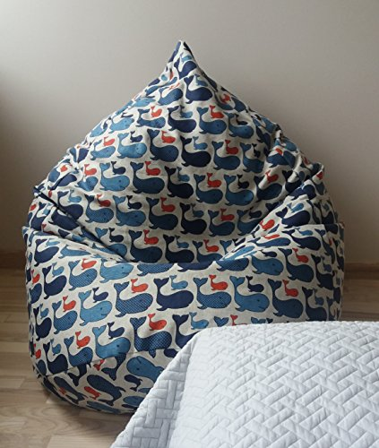 Linen bean bag chair cover Blue floor pillow Whales beanbag Kids room soft furniture Playroom decor Natural fabrics Housewarming gift See animals print Boys room