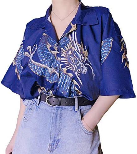 OUlike zomer draak bedrukt shirt Unisex losse Slim fit korte mouwen blouses casual knop down Hawaiian tops Tshirts