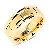 100S JEWELRY Tungsten Ring for Men Wedding Band Gold Brick Pattern Brushed Beveled Edge Size 6-16 (13)