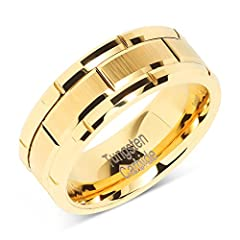 CASUAL AND MODERN Trying not to break the bank but don't want a cheap, arcade-looking band for your wedding day? 100S Jewelry's Gold and Brick Pattern band for a bride or groom offers affordable luxury and provides a traditional, yet modern l...