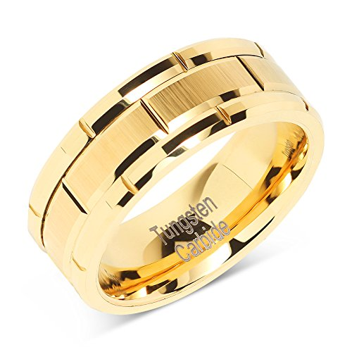 (100S JEWELRY Tungsten Ring for Men Wedding Band Gold Brick Pattern Brushed Beveled Edge Size 6-16 (7))
