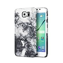 Trippy White & Black Watercolor Marble Print Hard Plastic Phone Case For Samsung Galaxy S6