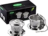 Premium Tea Infuser, Fu Store Stainless Steel Tea Strainer with Brush and Drip Trays 2 Pack, Perfect Filter for Loose Leaf Tea