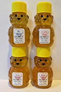 Honey I Love You, Kiss Me, Be Mine, You Rock Unique Gift Set of Four 2 Oz. - Honey Bears with Sweet Messages