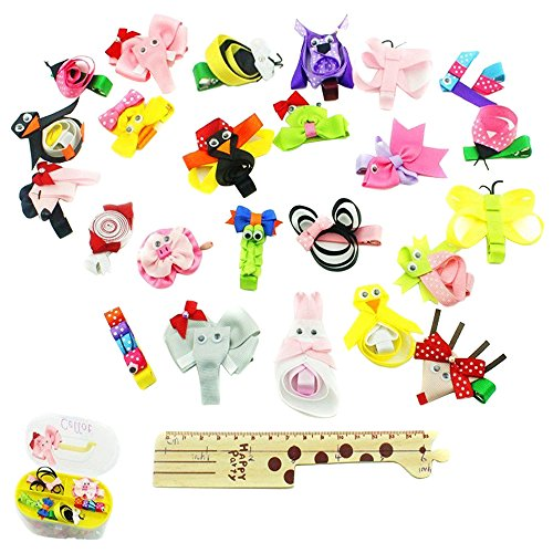 Price comparison product image 24Pcs Baby Girls Hair Bows Alligator Hair Clip Animal Hair Accessory with Gift Box