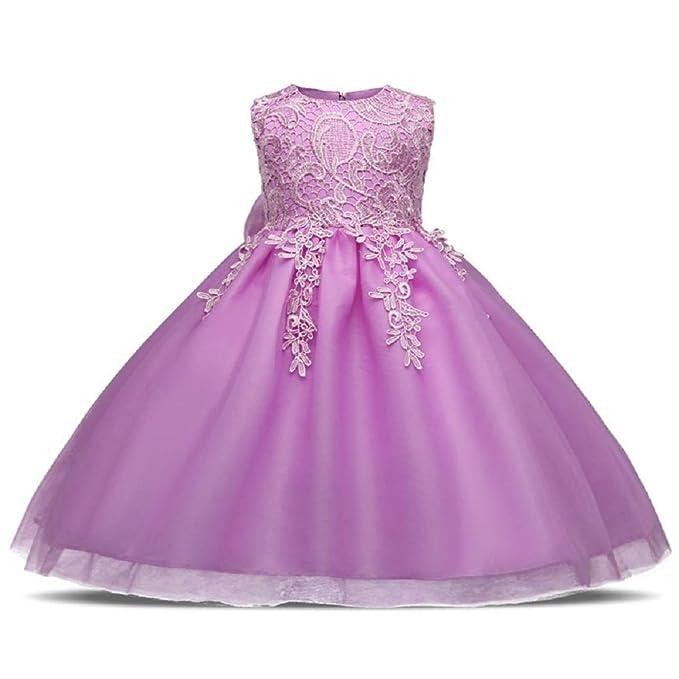 Oudan Trajes de los niños Niñas Princesa Falda tutú sin Mangas Flores de Encaje Vestido de Novia de la Princesa del Vestido de Boda para 1-8 años: ...