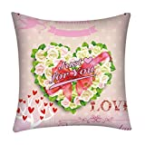 Mome Square Cushion Cover Sweet Gift for Your Gift Friend or Wife - Pillowcase Pillow Shams, Pillows Shells, for Sofa Bedroom Car Chair 18x18 Inch (C)