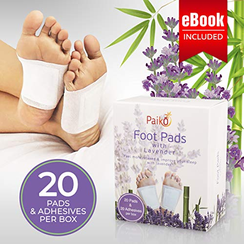 Foot Pads Patches | Adhesive Relaxing Foot Care | Lavender Infused for a Soothing & Calming Aroma that can help Reduce Stress & Improve Sleep - 20 Pack With eBook! UPGRADED FORMULA from Paiko