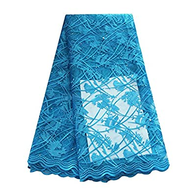 pqdaysun 5 Yards African Net Lace Fabrics Nigerian French Fabric Embroidered and Beading Guipure Cord Lace fb-F50625