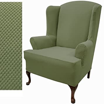 stretch pique wingback chair slipcover color balsam green - Slipcover For Wingback Chair