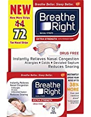 Breathe Right Extra Strength Tan Strips Reduces Snoring-Free Nasal Strips for Nasal Congestion Relief-72 Count