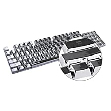 E-Element 104 PBT Double Shot Injection Backlit Silver Metal Color Keycaps for all Mechanical Switch Keyboards with Key Puller