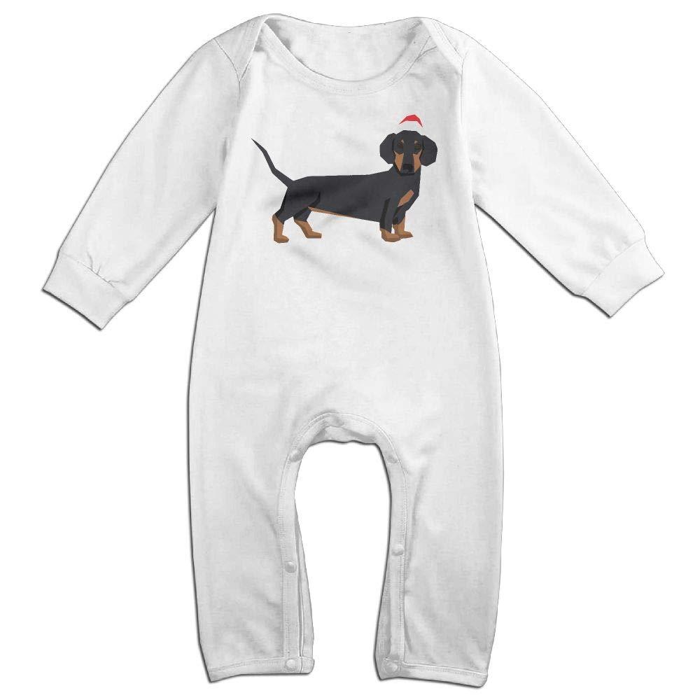 UGFGF-S3 Dachshund in Christmas Santa Hat Long Sleeve Infant Baby Romper Jumpsuit Onsies for 6-24 Months Bodysuit