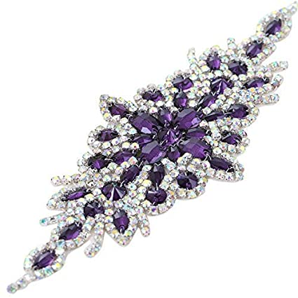 Purple Sew on Rhinestone Applique with AB Color Crystals Small for Wedding  Dress Sash Bridal Headpieces ed5ce8678307