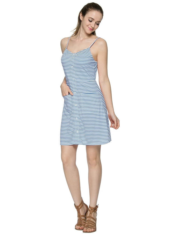 Bhome Modisch Damen Kleider Sommerkleid Streifenkleid Hosenträger Minikleid
